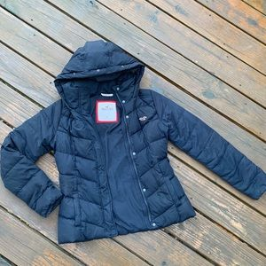 Hollister Navy Hooded Puffer Coat So Comfy M